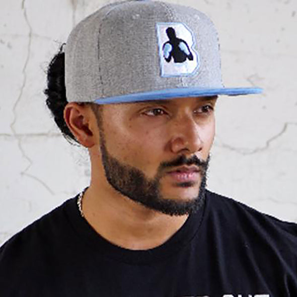Gray and Baby Blue B Logo Snapback