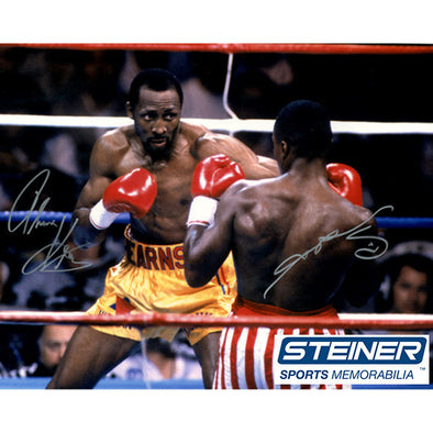 Thomas Hearns & Sugar Ray Leonard Dual Signed 16x20 Photo