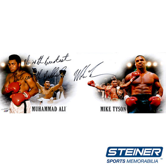 Mike Tyson Signed Tyson/Ali 10x32 Photo