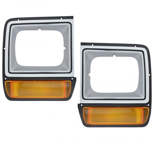 1986-1990 Dodge D150 Truck Gray Headlight Bezel Pair with Parking Light