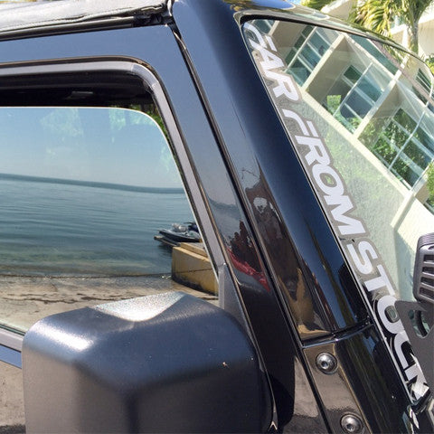 "17"" Far From Stock Jeep JK Windshield Pillar Decal"