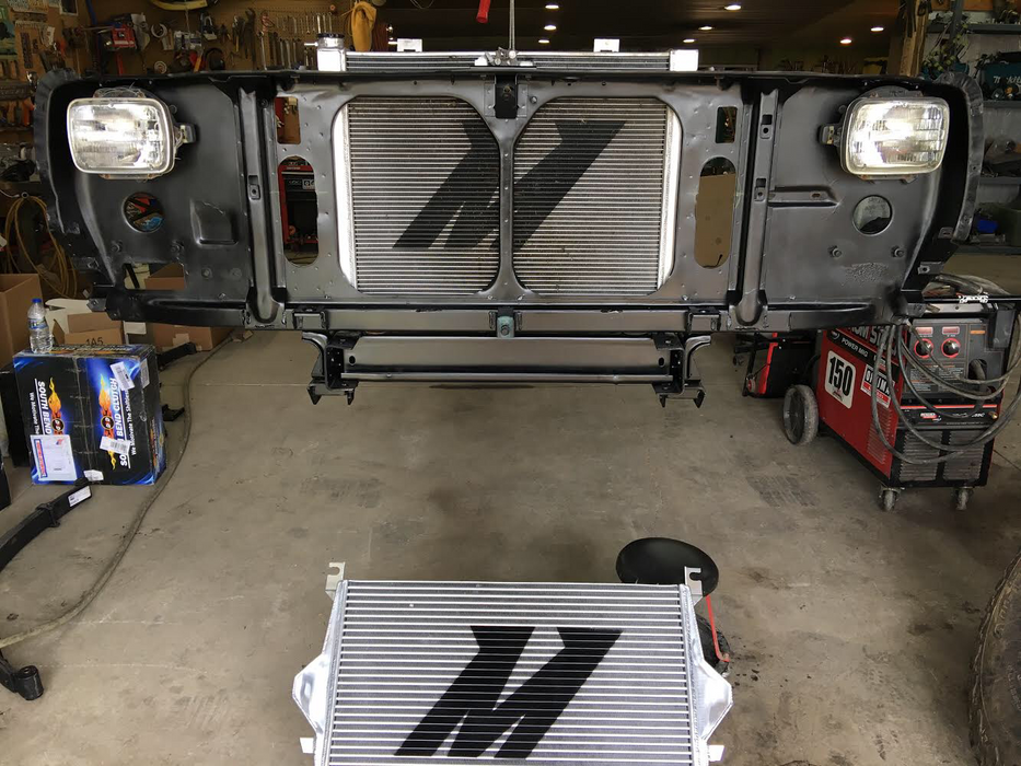 First Gen Cummins Mishimoto intercooler install kit.