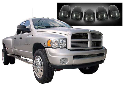03-17 RAM 2500HD/3500HD CAB LIGHTS SMOKE LENS BLACK BASE AMBER LED BULBS W/WIRING (5PC)