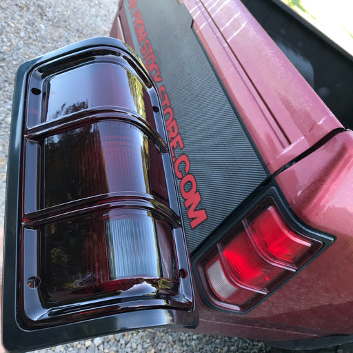 1G 1st Gen 81-93 Taillights Tail Lamps with Black Bezels Driver and Passenger Replacements for Dodge Pickup