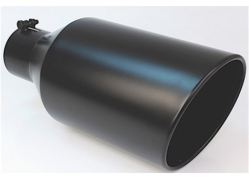 BLACK POWDER COATED 8IN ROLLED SLANT 18IN BOLT ON BLK EXHAUST TIP 4.00IN ID / 8.