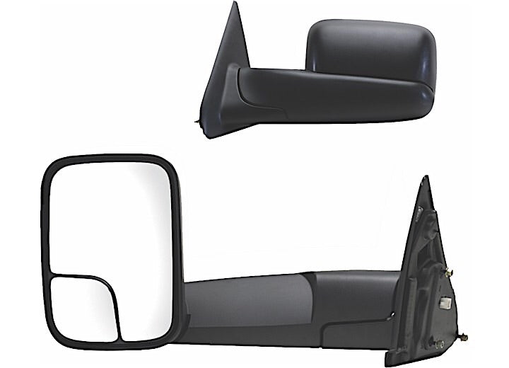 02-09 RAM 1500/2500/3500 PAIR HEATED POWER OE MIRROR BLACK, TOWING PKG, FLIP OUT HEAD W/ BLIND SPOT