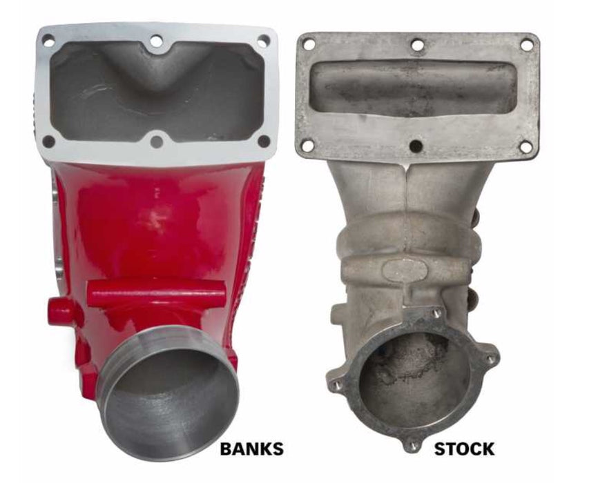 Monster-Ram Intake Elbow with Fuel Line and Hump Hose, 4 inch Red Powder Coated for use with 2007.5-2018 Dodge/Ram 2500/3500 6.7L