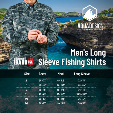 Men's Button Up Shirt Size Chart by Aqua Design