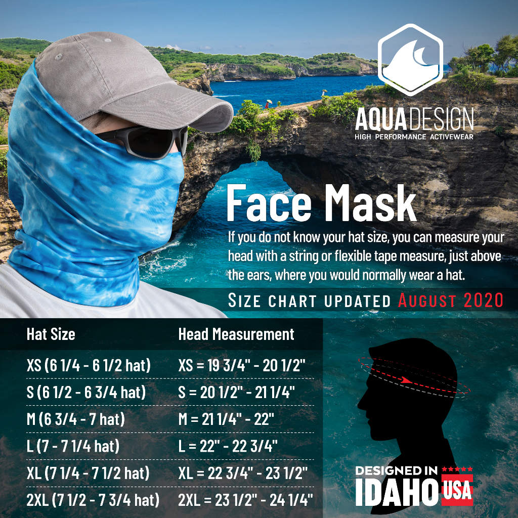 Aqua Design Men's Face Mask Gaiter Size Chart