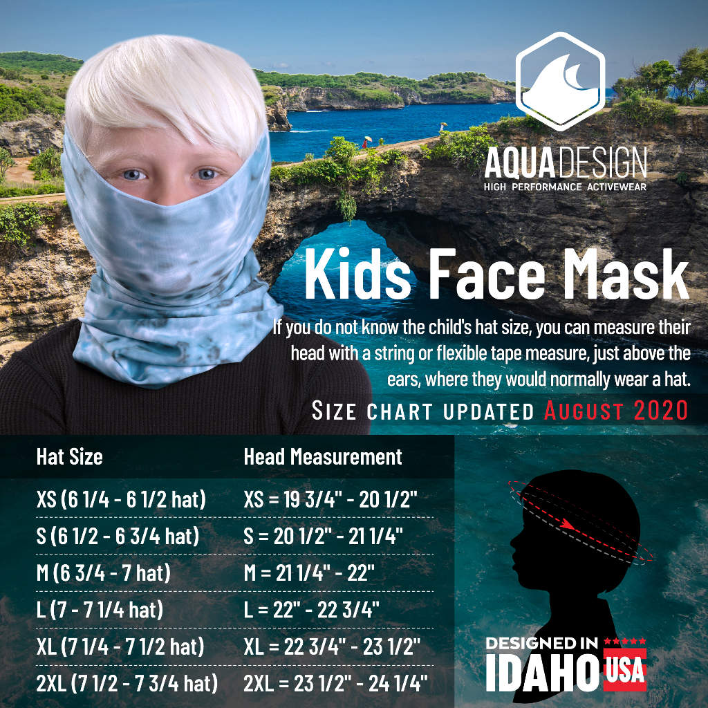 Aqua Design Kid's Face Mask Gaiter Size Chart
