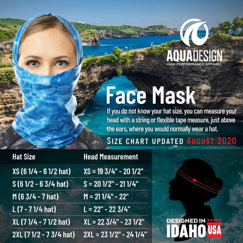 Women's Face Mask Size Chart by Aqua Design