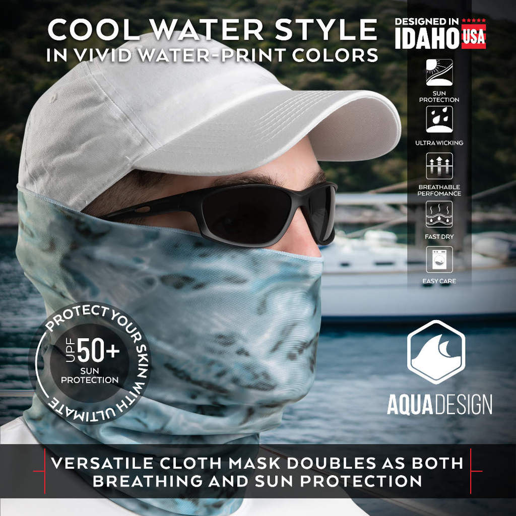 UPF 50+ cooling cool mask aqua design