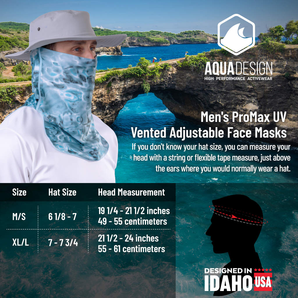 Mens UV Face Mask ProMax Sun Protection Vented | Aqua Design