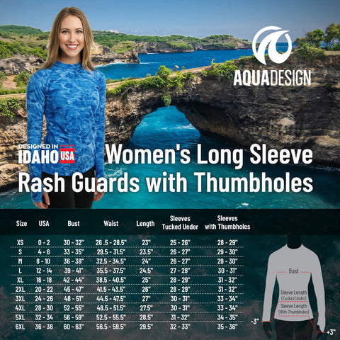 Women's Long Sleeve Rashguard Size Chart by Aqua Design