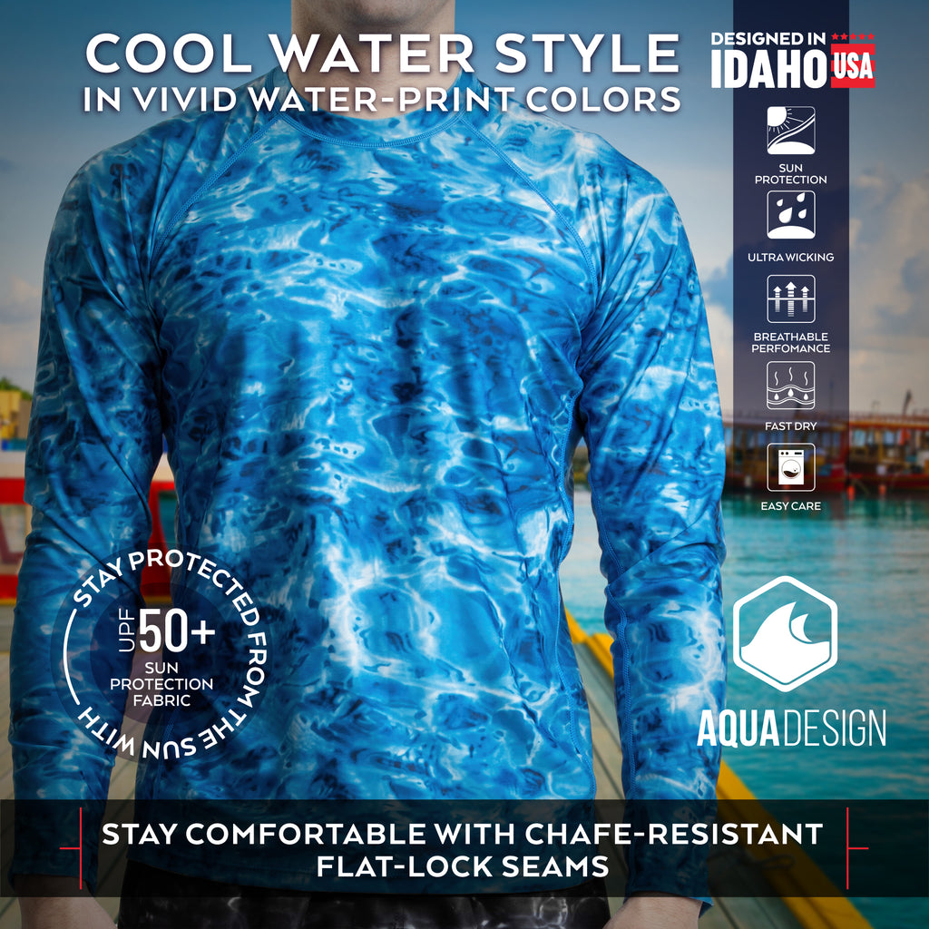 Aqua Design Men's 3-D Water Print Rash Guard