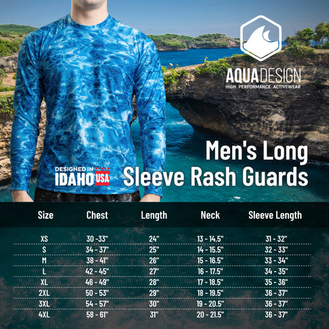Men's Rashguard Size Chart by Aqua Design