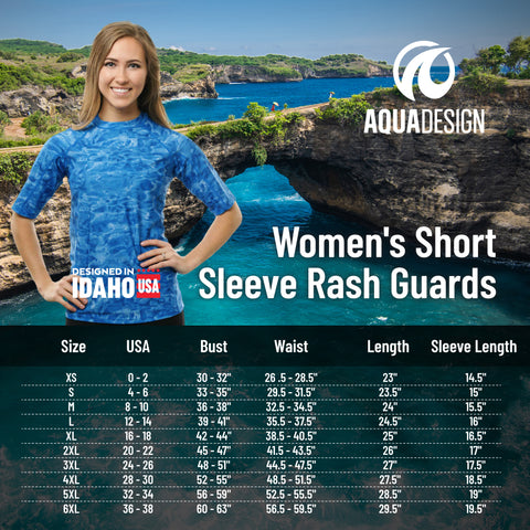 Women's Short Sleeve Rashguard Size Chart by Aqua Design