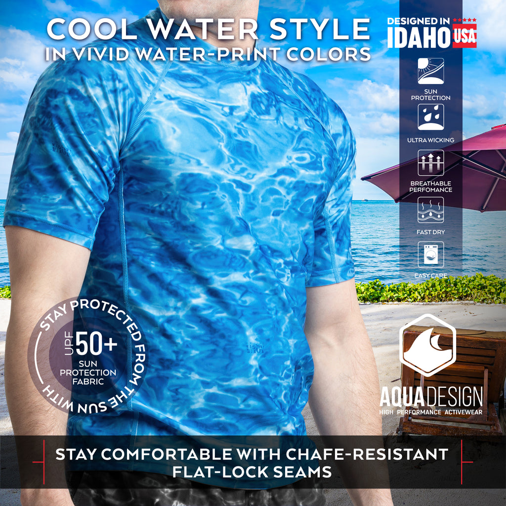 Aqua Design Men's UPF 50+ Short Sleeve Rash Guard