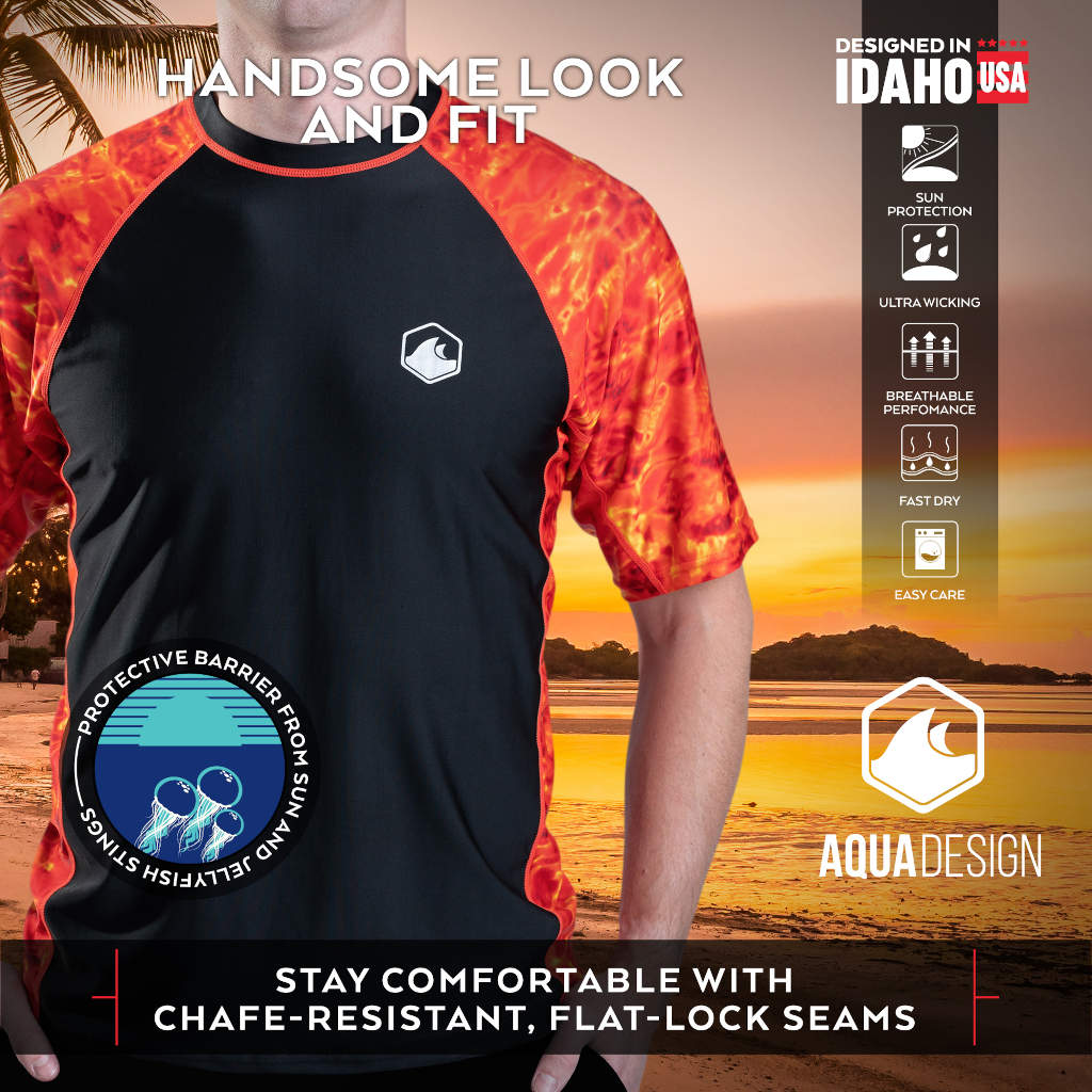 Mens Short Sleeve Rash Guard Shirt