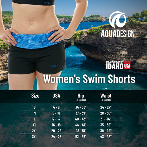 Women's Swim Shorts Size Chart by Aqua Design