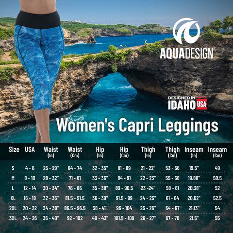Women's Capri Size Chart by Aqua Design