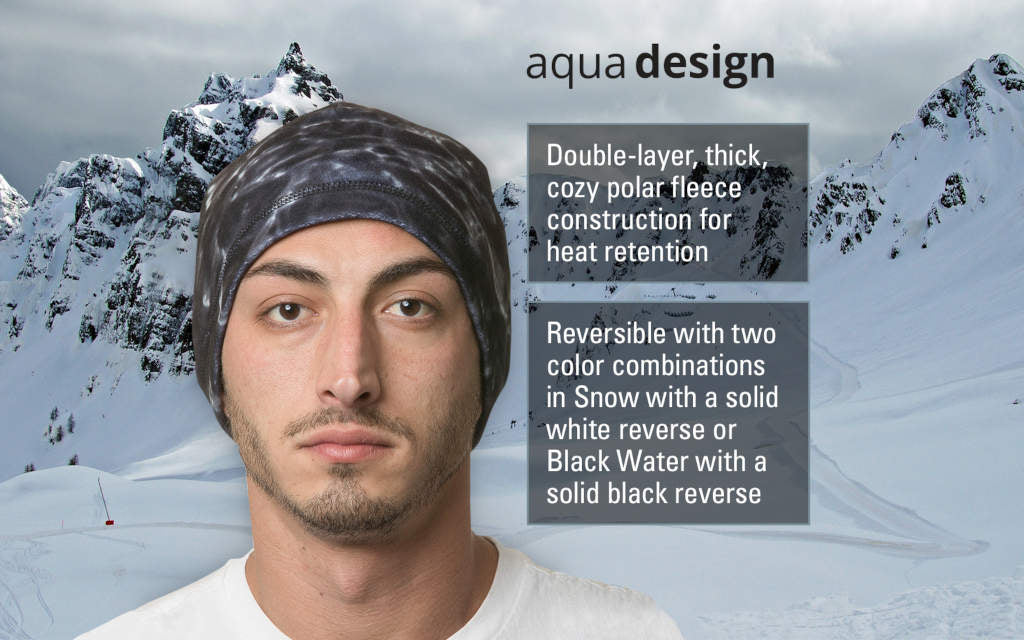 Mens Reversible Polar Fleece Beanie Winter Hat, Black Water