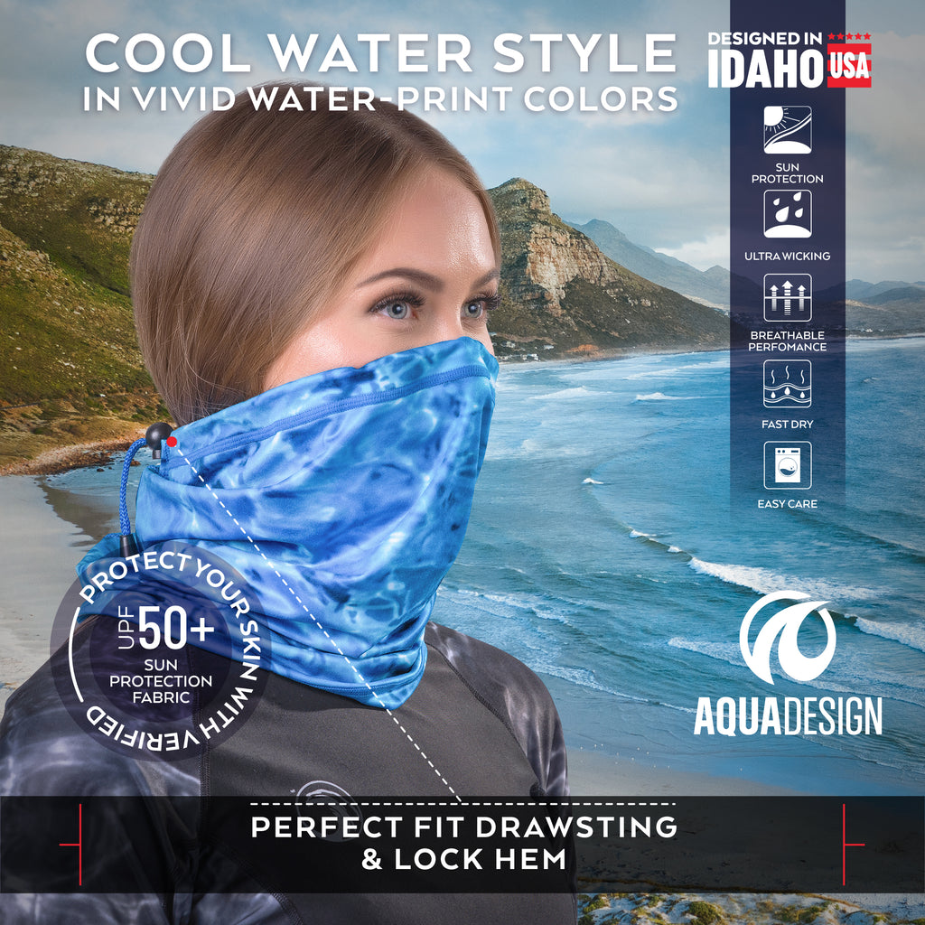 Womens Adjustable Drawstring Micro-Fleece Face Mask UPF 50+ | Aqua Design