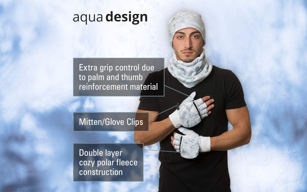 Aqua Design Mens Camo Polar Fleece Fingerless Glove Mitten