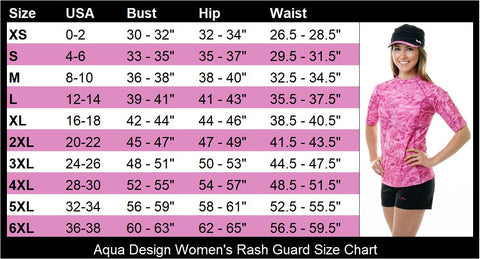 Aqua Design Women's Rash Guard Size Chart
