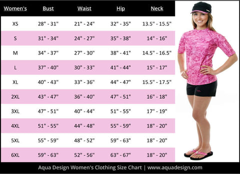 Women's Sizing Chart | Aqua Design