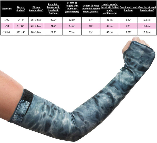 Sun Sleeve Size Chart for Women