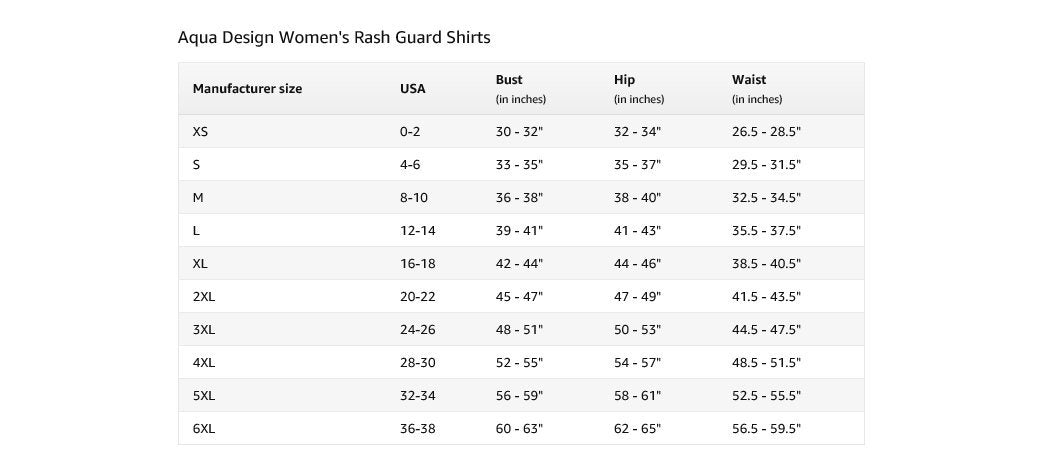 Aqua Design Womens Rash Guard Size Chart