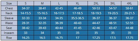 Men's Sizing Chart | Aqua Design