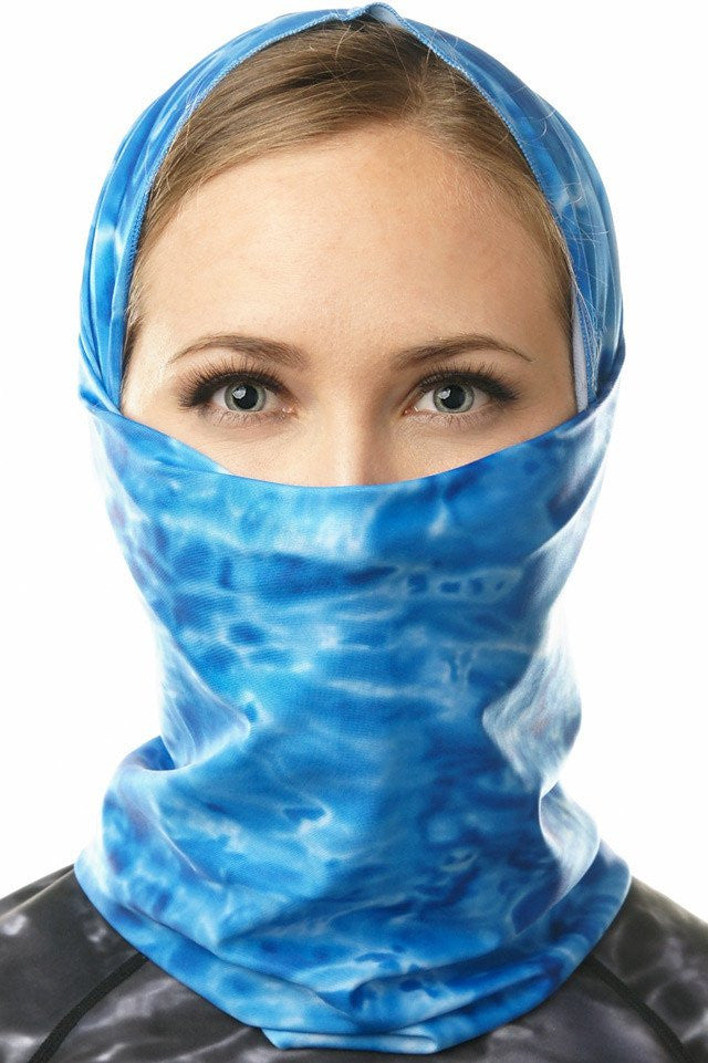 Women's Sun Protection Scarf Face Mask - Aqua Design