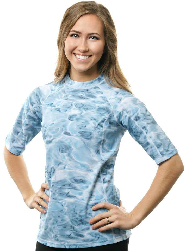 9df7427fc679f Womens Misses to Plus Rash Guard Swim Shirt