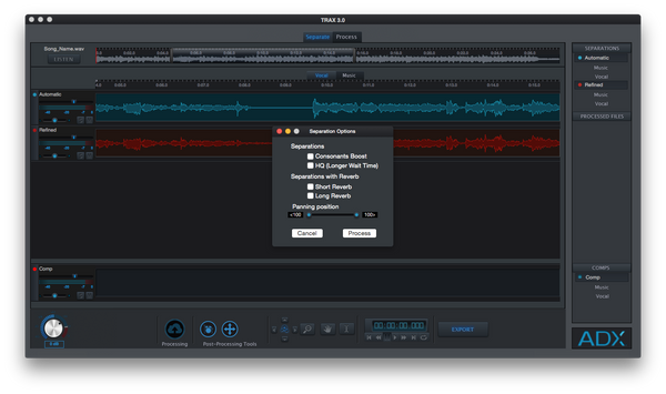Audionamix TRAX 3 Advanced Seperation GUI