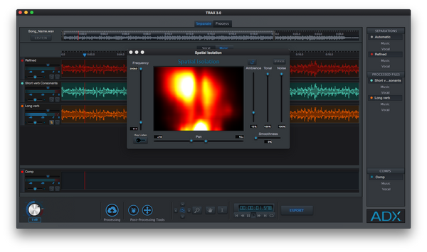 Audionamix TRAX 3 Spatial Isolation GUI