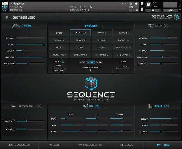 Interface Big Fish Audio Sequence: Hip Hop Beat Creator