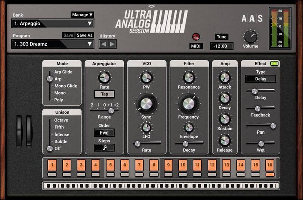 AAS Ultra Analog Session GUI