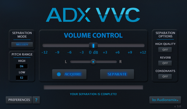 Audionamix VVC 3 Melody Mode GUI