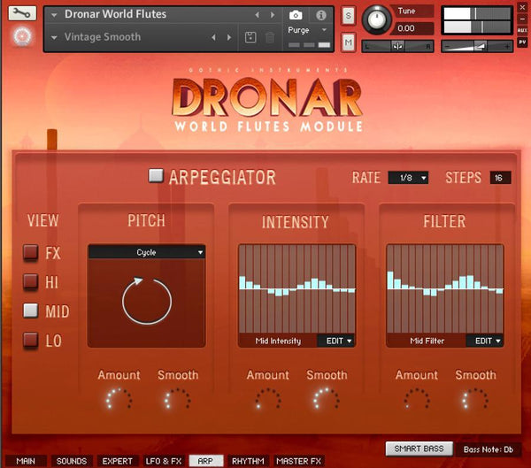 DRONAR World Flutes Arpeggiator page