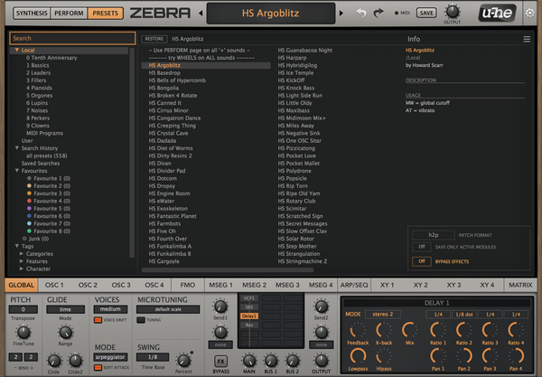 u-He Zebra2 Sequencer 1 GUI