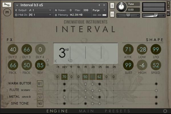 Cinematique Instruments Interval GUI Engine View