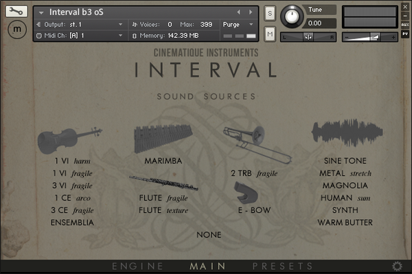 Cinematique Instruments Interval GUI Instruments View