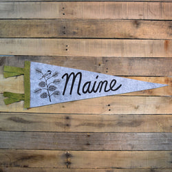 MAINE Pinecone & Chickadee Pennant on Gray Wool