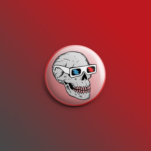 Skull in 3D Glasses 1inch Pin