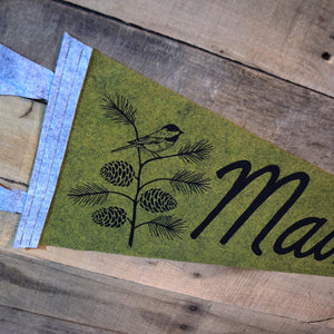MAINE Pinecone & Chickadee Pennant on Green Wool