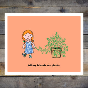 All My Friends Are Plants Kids Orange Giclee Print