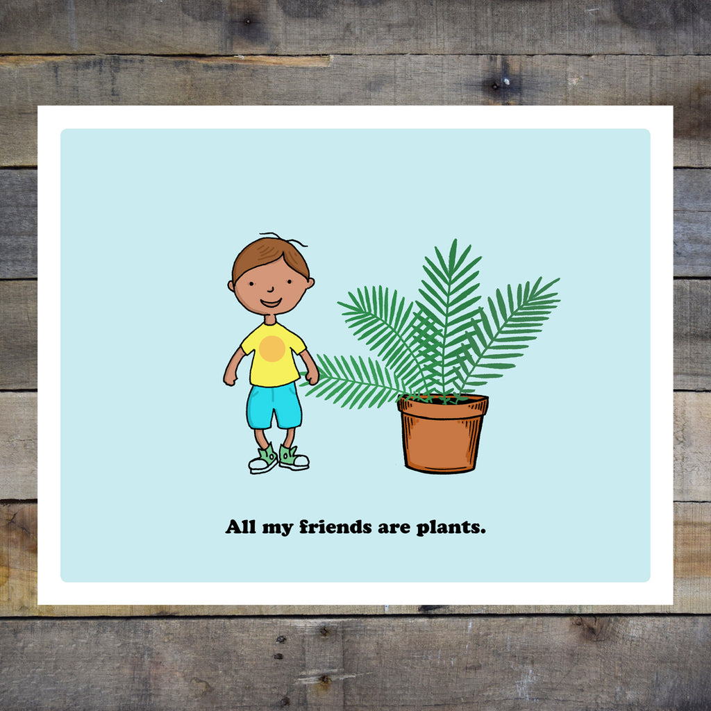 All My Friends Are Plants Kids Blue Giclee Print
