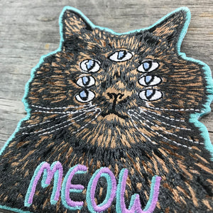 Meow. Cat Embroidered Patch